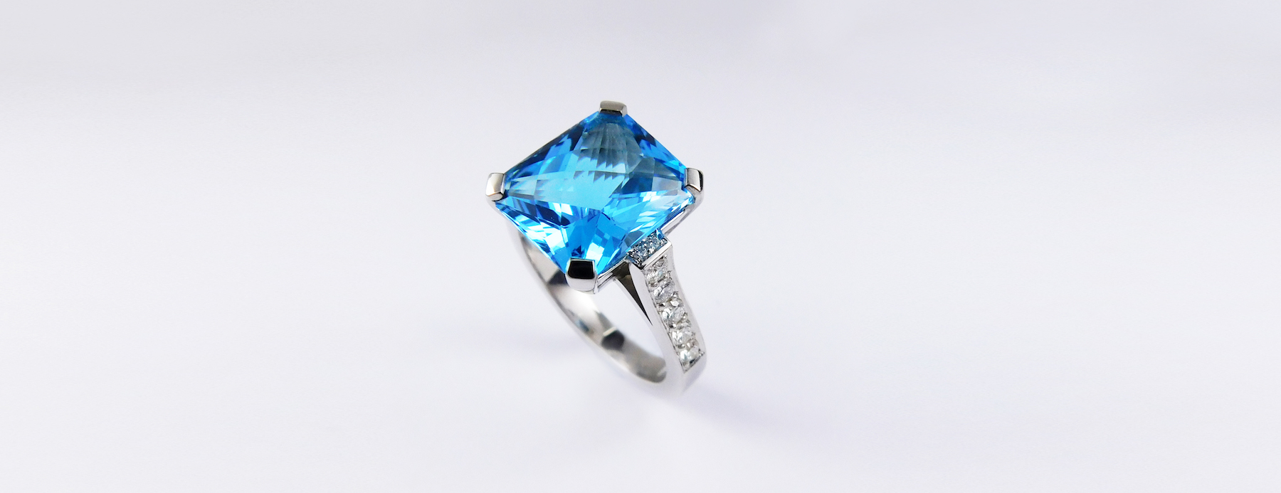 Blue Topaz & Diamond Cocktail Ring