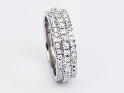 3 Row Diamond Eternity Ring